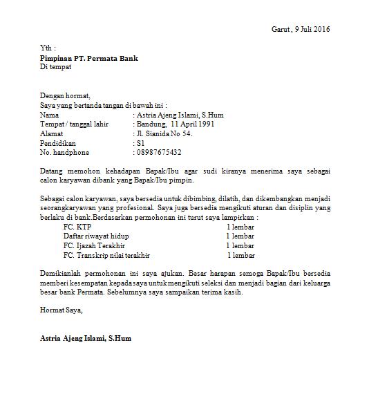 contoh surat lamaran kerja 5